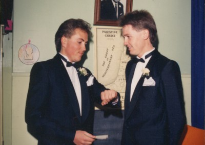 Wedding day October 14th 1988 Peter and his best man